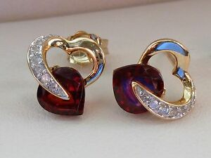 NEW-Red-Garnet-amp-Diamond-Heart-Stud-Post-Earrings-Solid-10K-Yellow-Gold
