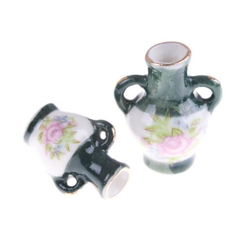 2PCS 1:12 Dollhouse Mini Chinese Traditional Ceramics Vase Miniature Decor EP