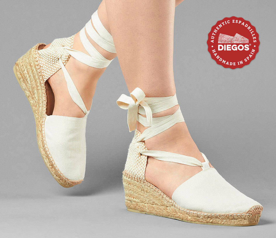 Diegos® Authentic Handmade Spanish Espadrilles   Ivory blanc wedge wedding chaussures