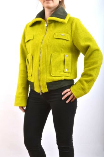 I46 Jacket Wool Italy Bomber Green Uk14 Stylish Made In Lime Rocco Barocco Coat 0IzxqFP