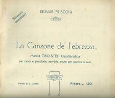 Spartito Musicale La Canzone de Ebrezza per Canto Pianoforte Ermenegildo Rusconi