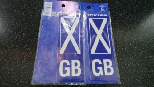2X SELF ADHESIVE NUMBER PLATE STICKERS SCOTTISH//SCOTLAND FLAG GB//GREAT BRITAIN