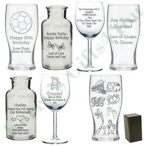 Image Is Loading Engraved Personalised Glass Gift Birthday Gifts Presents Ideas