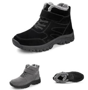 Mens Outdoor Sports Non-slip Fur Inside Warm Flats Winter Snow Ankle Boots Shoes