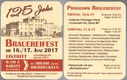 Bierdeckel 2017 125 Jahre Brauhaus SAALFELD Thüringen Jubiläums-Edition *FH134