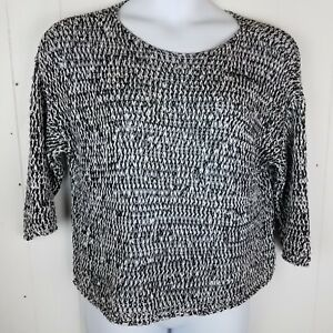 3a34958bd33d45 Image is loading Eileen-Fisher-Sweater-Size-M-Black-white-open-