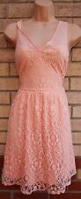 DOROTHY PERKINS PEACH PINK FLORAL LACE V NECK SKATER FLIPPY TEA RARE DRESS 10 S