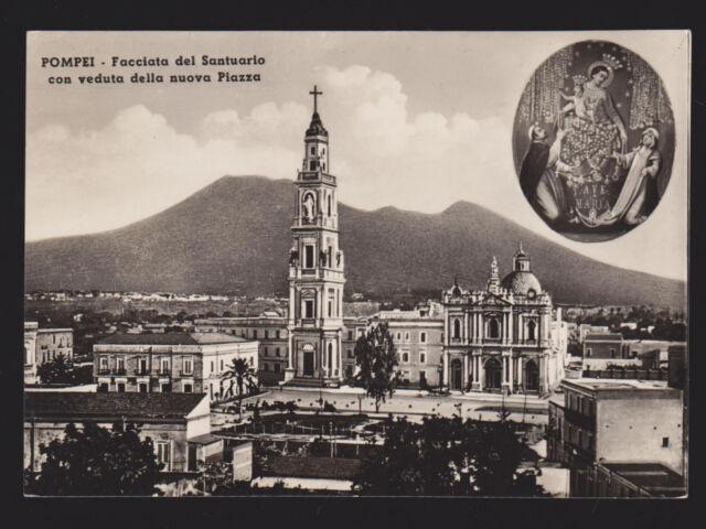 POMPEI NAPOLI CARTOLINA FACCIATA SANTUARIO CON VEDUTA DELLA NUOVA PIAZZA FG VG