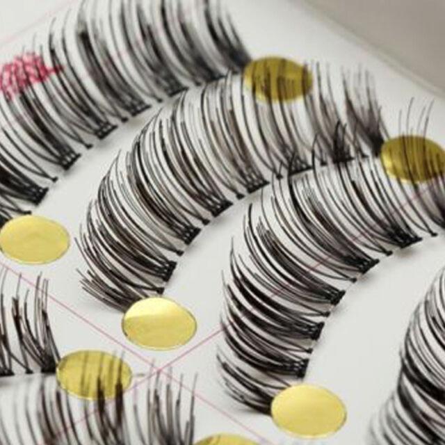 Handmade 10 Pairs Natural Long Thick False Fake Eyelashes Makeup Eye Lashes #X1
