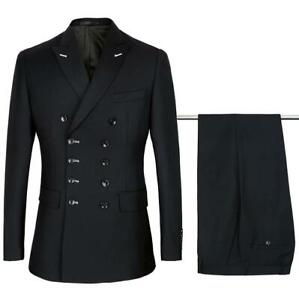 Fashion Wedding Suits Tuxedo 2 Pieces Double Breasted Suit Men Black Formal New Ebay
