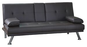 Seater Sofa Bed Brown Faux Leather Clic Clac Design Cup - Clic clac design