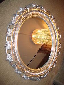 Espejo-de-pared-antiguo-espejo-68-x-58-Barroco-ovalado-NUEVO-Plata-Marco
