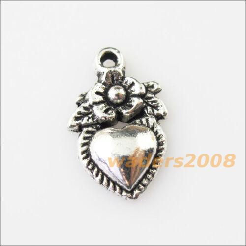 15 nouveau cœur fleur Leaf Tibetan Silver Tone Charms Pendentifs 11.5x18.5mm