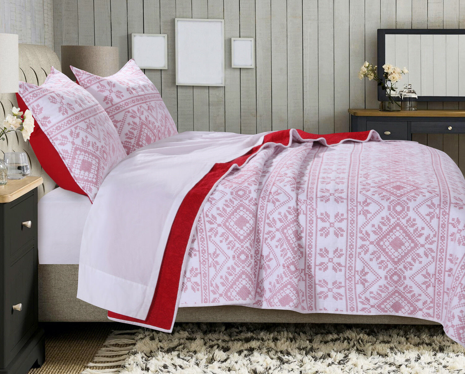 2pc HOLLY CROSS STITCH Twin Quilt Set  Red White Nordic Christmas Reversible