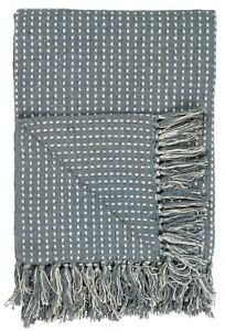 Sale-Plaid-Decke-graublau-staubig-blau-creme-m-Fransen-IB-Laursen-130-x-160-cm