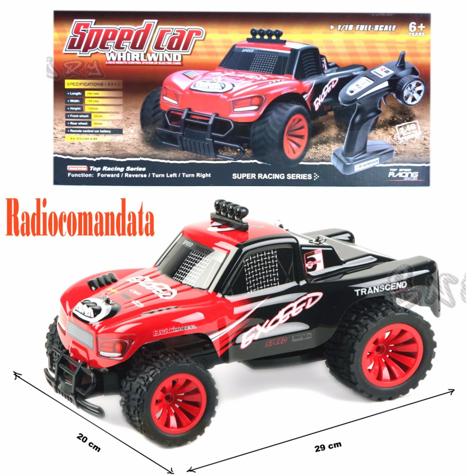 JEEP CROSS-COUNTRY REMOTE-CONTROLLED CAR REMOTE CONTROLLED MA-55128 RED