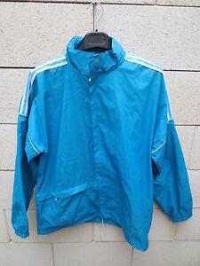 Détails sur VINTAGE Veste ADIDAS K Way windbreaker bleu turquoise nylon Ventex168 S