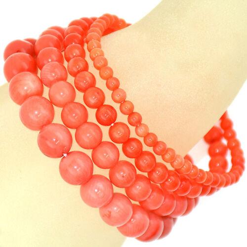 "8.5/"" Handmade Natural Gemstone Perles rondes ORANGE CORAIL Stretch Bracelet 7/"""