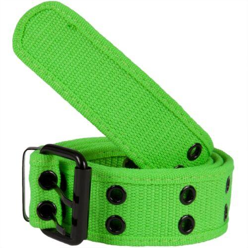 Neon Green Web Double Grommet Belt Light Green