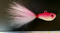 6 Oz Ounce Ultra Minnow (spro Type) Jigs With 5/0 Hooks - Pink And White