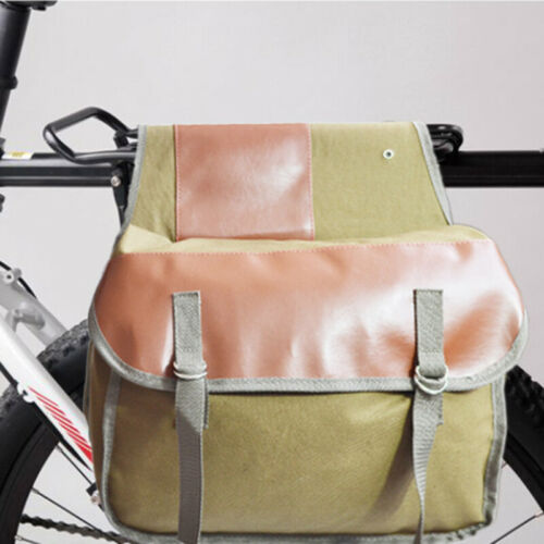 Outdoor Canvas Leather Double Panniers Saddle Bag Bike Bicycle Rear Seat Pack