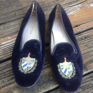be208b52251 Stubbs   Wootton Navy Blue Velvet Crest Smoking Loafers Mens Sz 10 ...