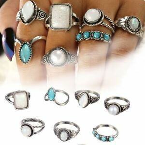 7-Set-Boho-Frauen-Silber-Opal-Midi-Fingerspitze-Ringe-Stack-Plain-Knuckle-Ring