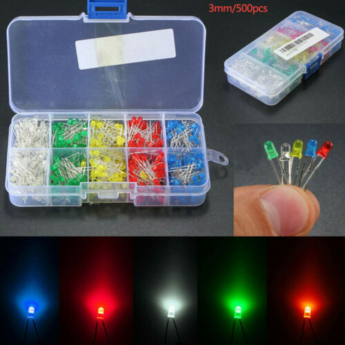 500pcs LED Light Emitting Diodes 3mm Round Head 2Pin Assortment Diode Kit W//Box