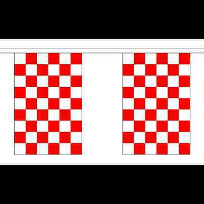 3m 6m 9m Metre Lengths Liverpool Checkered Sports Red /& White Check Bunting