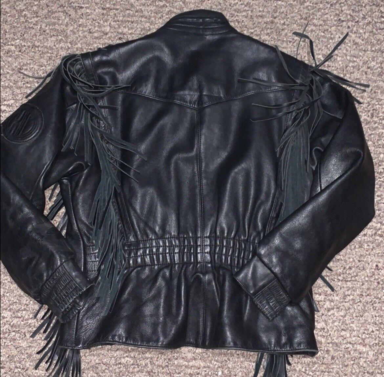 HARLEY DAVIDSON Black Fringed leather moto Jacket - image 7