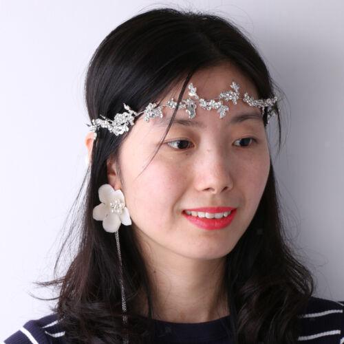Woman Bridal Rhinestone Leaf Flower Hair Vine Woman Lady Forehead Decoration