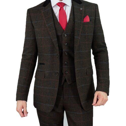 Uomo Check Pantaloni pezzi di di Cavani spina Giacca Pantaloni lana Tuta a marrone Tweed 3 pesce Tommy Bdx1Sq