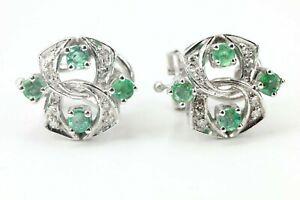 Gold-Ohrringe-585-Diamant-Smaragd-14K-Weissgold-8-Smaragde-16-Altschliff-zs-0-8ct