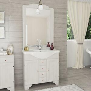 Materiale Per Shabby Chic.Details About Mobile In Legno Decape Arredo Bagno Shabby Chic 85 Cm Con Lavabo E Specchio