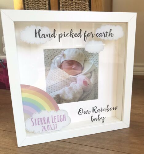 Personalised Rainbow Baby Gift Photo Frame Hand Picked For Earth New Baby Gift
