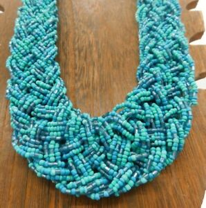 Vintage-Multi-Strand-Turquoise-Blue-White-Color-Braided-Seed-Bead-23-034-Necklace