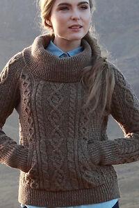 S laine avec style roulé mérinos à Aran col torsadée rouge en maille poches Pull en hiver Bq1z7Iw