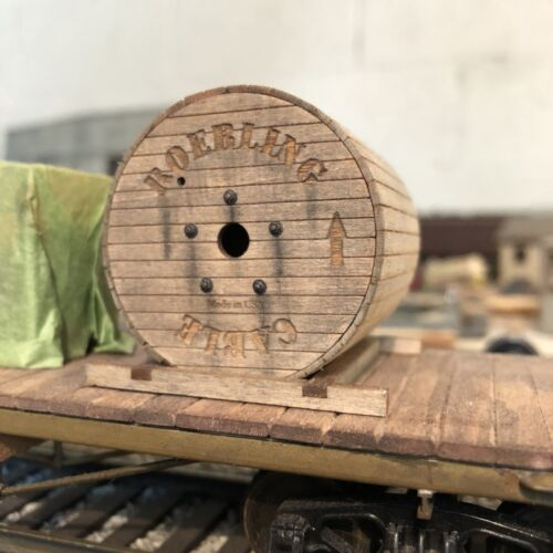 for most brand flat cars. O Scale Wooden Cable Reels Kit Pair