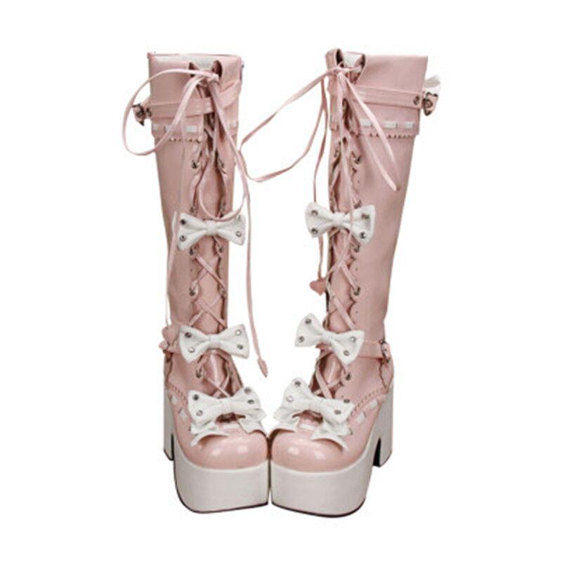 Para Mujer Lolita Juegos con disfraces la rodilla botas botas botas altas tacón de bloque con Moño Con Cordones Zapatos Gótico  servicio honesto