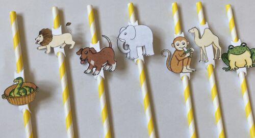 Handmade Dear Zoo Party Yellow Striped Paper Straws x 16