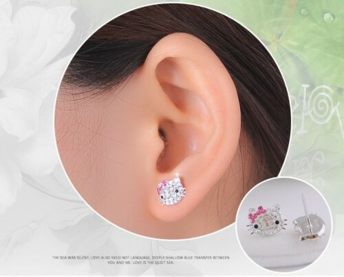 Hello Kitty Sterling Silver Pave Crystal Face Stud Earrings Pink Bow Christmas