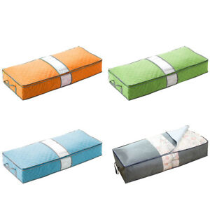 7e56041519bf Details about 1PC Zipper Closure Clothes Blankets Non-Woven Fabric Storage  Bag Under Bed Bag O