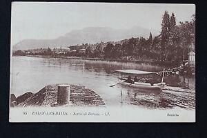 Tarjeta-Postal-Antigua-CPA-Evian-Los-Bains-Salida-De-Barco