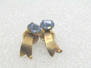 Vintage-Pair-Blue-Comet-Collar-Pins-2-Pins-1940-039-s-10kt-G-F