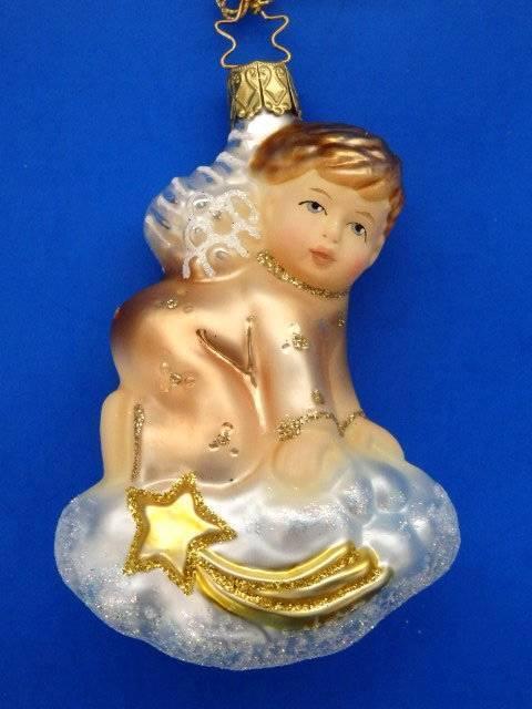 INGE GLAS ON CLOUD 7 SEVEN GERMAN BLOWN GLASS CHRISTMAS ORNAMENT ANGEL HEAVENS