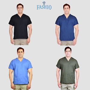 Unisex-Men-Women-Classic-Scrub-Top-Medical-Nursing-Hospital-Uniform-V-Neck-Shirt