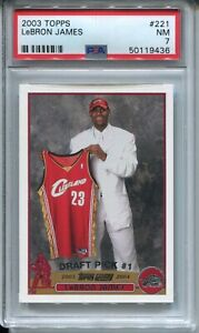 2003 Topps Basketball #221 LeBron James Rookie Card Graded PSA Nr Mint 7 Lakers