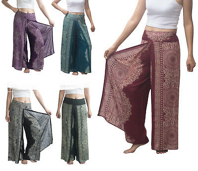 Thai Harem Trousers Mandala Wrap Open Leg Split Yoga Palazzo Pants Hippy Aladdin