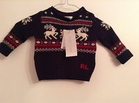 100% Auth Ralph Lauren, Baby Boy Stunning Jumper With Logo. 6 Mts. Rrp £140