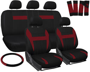 SUV Seat Covers for Ford Expedition Red Black Steering Wheel/Belt Pad/Head Rests